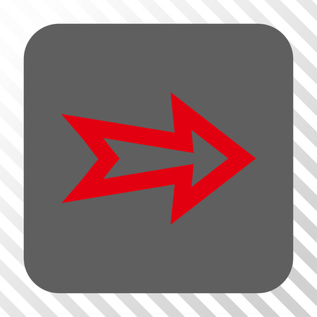 redirect: Arrow Right square button. Vector pictograph style is a flat symbol inside a rounded square button, red and gray colors, hatched diagonally transparent background.