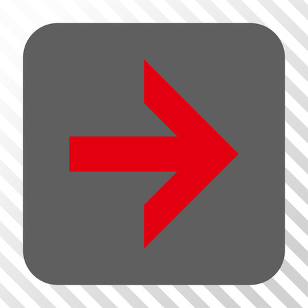 propel: Arrow Right interface button. Vector pictogram style is a flat symbol in a rounded square button, red and gray colors, hatched diagonally transparent background.