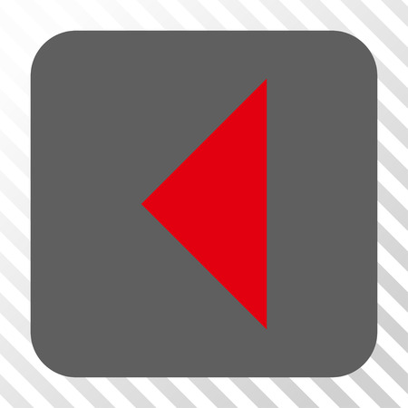 arrowhead: Arrowhead Left interface button. Vector pictograph style is a flat symbol inside a rounded square button, red and gray colors, hatched diagonally transparent background.