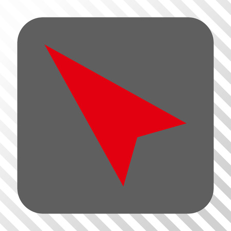 arrowhead: Arrowhead Left-Up square icon. Vector pictograph style is a flat symbol inside a rounded square button, red and gray colors, hatched diagonally transparent background. Illustration