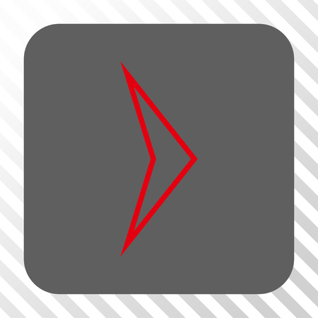 redirect: Arrowhead Right toolbar icon. Vector pictogram style is a flat symbol in a rounded square button, red and gray colors, hatched diagonally transparent background.