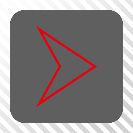 redirect: Arrowhead Right interface button. Vector pictogram style is a flat symbol in a rounded square button, red and gray colors, hatched diagonally transparent background. Illustration