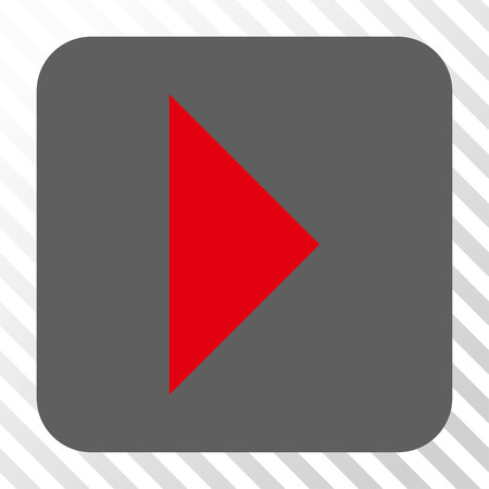redirect: Arrowhead Right rounded button. Vector pictogram style is a flat symbol on a rounded square button, red and gray colors, hatched diagonally transparent background.