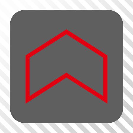 Icône carrée flèche en haut. Style de pictogramme de vecteur est un symbole plat sur un bouton carré arrondi, couleurs rouge et gris, fond transparent diagonalement hachuré.