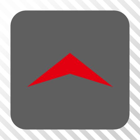 Icône carrée flèche en haut. Style de pictogramme de vecteur est un symbole plat centré dans un bouton carré arrondi, couleurs rouge et gris, fond transparent diagonalement hachuré.