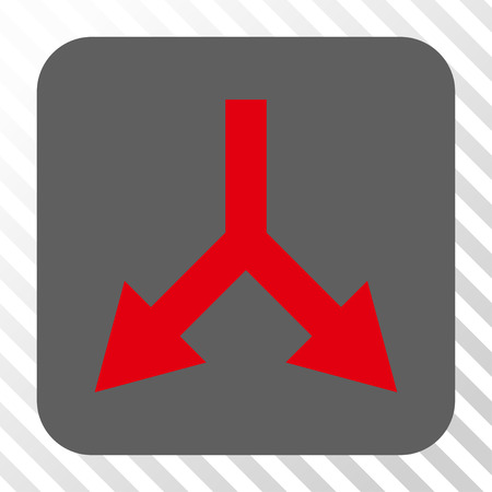 bifurcation: Bifurcation Arrow Down interface button. Vector pictograph style is a flat symbol inside a rounded square button, red and gray colors, hatched diagonally transparent background.