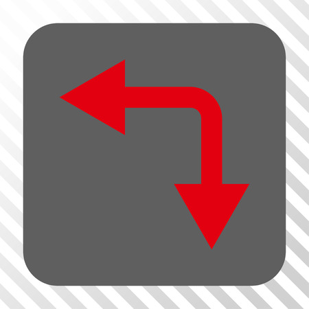 bifurcation: Bifurcation Arrow Left Down square button. Vector pictograph style is a flat symbol inside a rounded square button, red and gray colors, hatched diagonally transparent background. Illustration