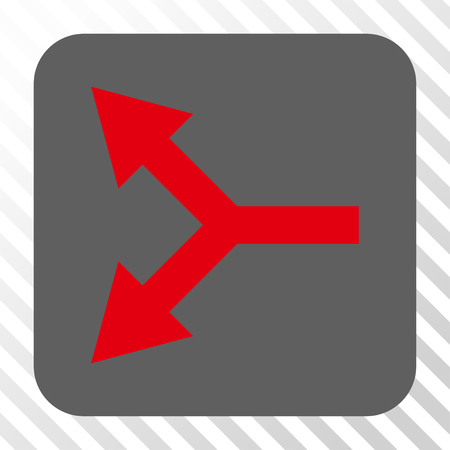 bifurcation: Bifurcation Arrow Left interface toolbar icon. Vector pictogram style is a flat symbol in a rounded square button, red and gray colors, hatched diagonally transparent background. Illustration
