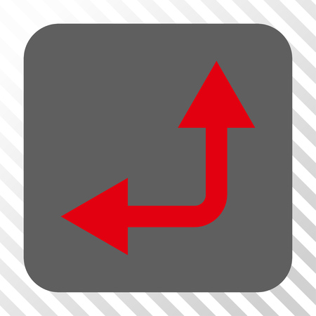 bifurcation: Bifurcation Arrow Left Up square button. Vector pictogram style is a flat symbol centered in a rounded square button, red and gray colors, hatched diagonally transparent background.