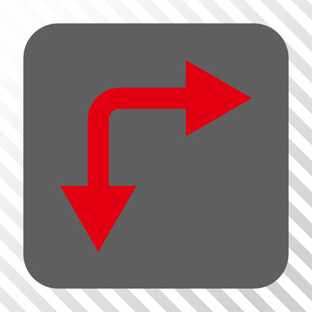 bifurcation: Bifurcation Arrow Right Down interface toolbar button. Vector pictogram style is a flat symbol centered in a rounded square button, red and gray colors, hatched diagonally transparent background. Illustration
