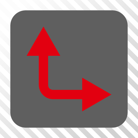 bifurcation: Bifurcation Arrow Right Up interface button. Vector pictograph style is a flat symbol inside a rounded square button, red and gray colors, hatched diagonally transparent background. Illustration