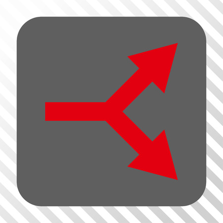 bifurcation: Bifurcation Arrow Right toolbar icon. Vector pictograph style is a flat symbol centered in a rounded square button, red and gray colors, hatched diagonally transparent background.