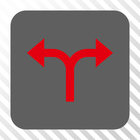 bifurcation: Bifurcation Arrows Left Right square icon. Vector pictogram style is a flat symbol on a rounded square button, red and gray colors, hatched diagonally transparent background. Illustration