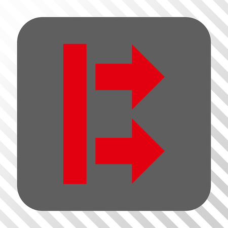 bring: Bring Right toolbar icon. Vector pictograph style is a flat symbol inside a rounded square button, red and gray colors, hatched diagonally transparent background. Illustration