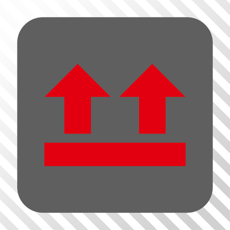 bring: Bring Up toolbar icon. Vector pictogram style is a flat symbol centered in a rounded square button, red and gray colors, hatched diagonally transparent background.