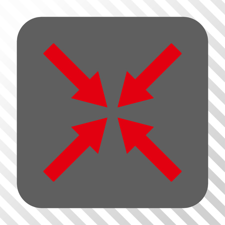 shrink: Center Arrows interface button. Vector pictograph style is a flat symbol on a rounded square button, red and gray colors, hatched diagonally transparent background.
