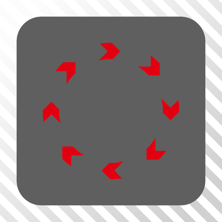 revolve: Circulation toolbar button. Vector pictogram style is a flat symbol on a rounded square button, red and gray colors, hatched diagonally transparent background.