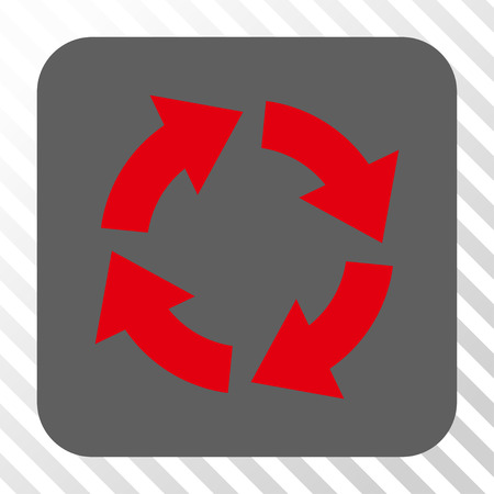 red arrows: Circulation square icon. Vector pictograph style is a flat symbol on a rounded square button, red and gray colors, hatched diagonally transparent background. Illustration