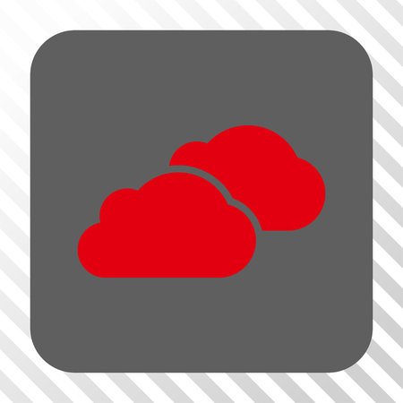 saas: Clouds interface toolbar button. Vector pictogram style is a flat symbol centered in a rounded square button, red and gray colors, hatched diagonally transparent background.