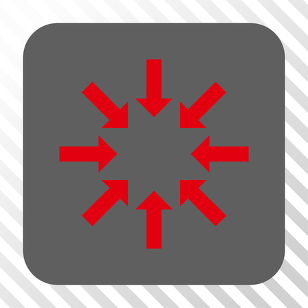 collapse: Collapse Arrows interface toolbar button. Vector pictograph style is a flat symbol on a rounded square button, red and gray colors, hatched diagonally transparent background. Illustration