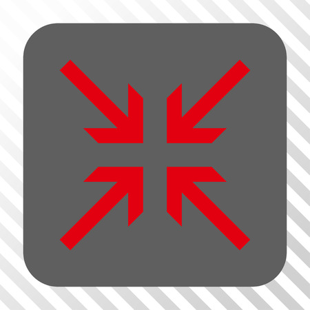 concentrate: Collide Arrows interface icon. Vector pictograph style is a flat symbol in a rounded square button, red and gray colors, hatched diagonally transparent background.