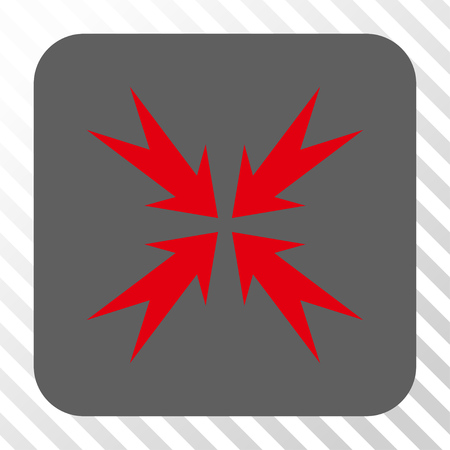 Compression Arrows interface icon. Vector pictogram style is a flat symbol on a rounded square button, red and gray colors, hatched diagonally transparent background. Illustration