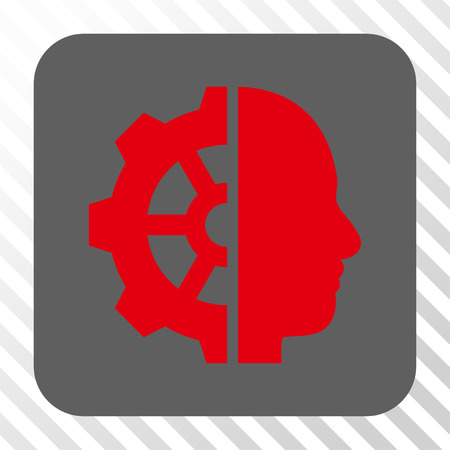 robo: Cyborg Gear square icon. Vector pictogram style is a flat symbol in a rounded square button, red and gray colors, hatched diagonally transparent background.