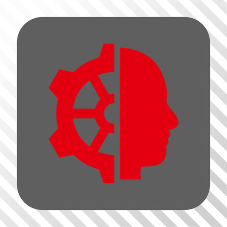 robo: Cyborg Gear rounded icon. Vector pictogram style is a flat symbol on a rounded square button, red and gray colors, hatched diagonally transparent background. Illustration