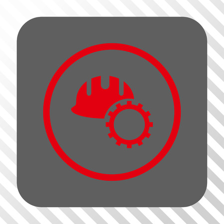 hardhat: Development Hardhat toolbar icon. Vector pictogram style is a flat symbol centered in a rounded square button, red and gray colors, hatched diagonally transparent background.