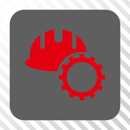 hardhat: Development Hardhat interface icon. Vector pictograph style is a flat symbol in a rounded square button, red and gray colors, hatched diagonally transparent background.