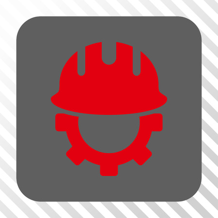 hardhat: Development Hardhat interface toolbar icon. Vector pictograph style is a flat symbol in a rounded square button, red and gray colors, hatched diagonally transparent background. Illustration