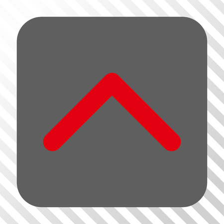 upward movements: Direction Up toolbar button. Vector pictogram style is a flat symbol centered in a rounded square button, red and gray colors, hatched diagonally transparent background. Illustration