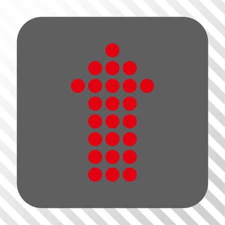 Flèche pointillée haut icône carrée. Style de pictogramme de vecteur est un symbole plat dans un bouton carré arrondi, couleurs rouge et gris, fond transparent diagonalement hachuré.