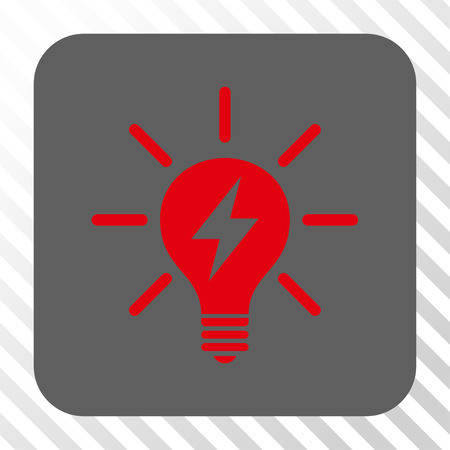 gray bulb: Electric Light Bulb square icon. Vector pictogram style is a flat symbol on a rounded square button, red and gray colors, hatched diagonally transparent background. Illustration