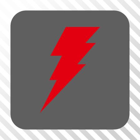 execute: Execute toolbar button. Vector pictogram style is a flat symbol centered in a rounded square button, red and gray colors, hatched diagonally transparent background. Illustration