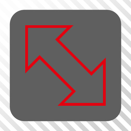 parallels: Exchange Diagonal toolbar icon. Vector pictograph style is a flat symbol inside a rounded square button, red and gray colors, hatched diagonally transparent background.
