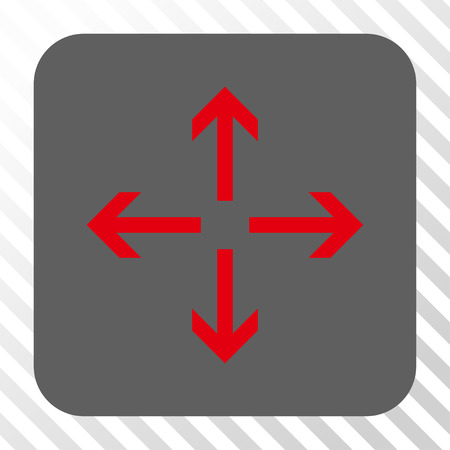 outwards: Expand Arrows interface toolbar icon. Vector pictograph style is a flat symbol centered in a rounded square button, red and gray colors, hatched diagonally transparent background.