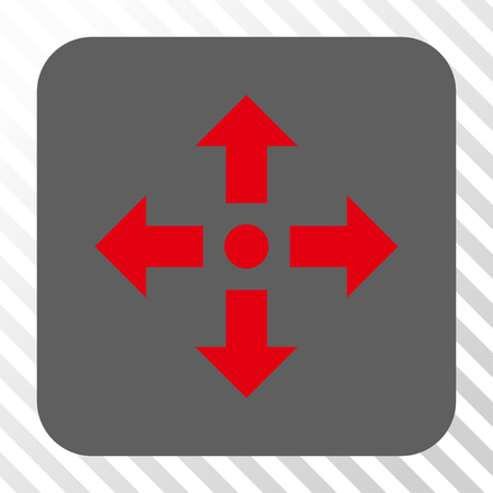 bifurcation: Expand Arrows interface toolbar icon. Vector pictograph style is a flat symbol inside a rounded square button, red and gray colors, hatched diagonally transparent background.