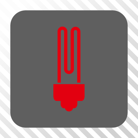 gray bulb: Fluorescent Bulb interface toolbar icon. Vector pictogram style is a flat symbol in a rounded square button, red and gray colors, hatched diagonally transparent background. Illustration