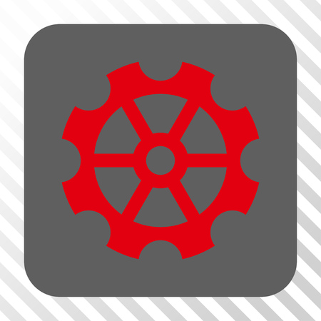 config: Gear square button. Vector pictogram style is a flat symbol on a rounded square button, red and gray colors, hatched diagonally transparent background. Illustration