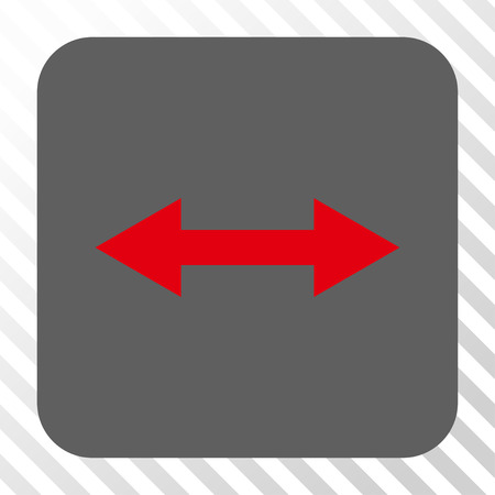 inverse: Horizontal Flip interface toolbar icon. Vector pictogram style is a flat symbol inside a rounded square button, red and gray colors, hatched diagonally transparent background. Illustration