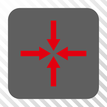 impact: Impact Arrows square icon. Vector pictogram style is a flat symbol inside a rounded square button, red and gray colors, hatched diagonally transparent background.