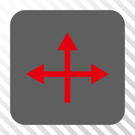 bifurcation: Intersection Directions toolbar icon. Vector pictogram style is a flat symbol on a rounded square button, red and gray colors, hatched diagonally transparent background.