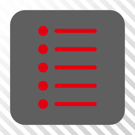 item list: Items interface toolbar button. Vector pictogram style is a flat symbol inside a rounded square button, red and gray colors, hatched diagonally transparent background. Illustration