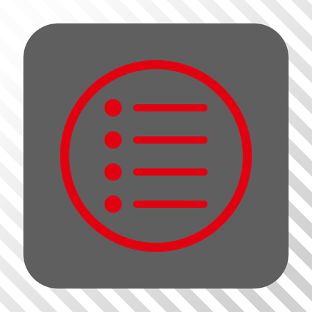 numerate: Items interface toolbar icon. Vector pictogram style is a flat symbol centered in a rounded square button, red and gray colors, hatched diagonally transparent background.