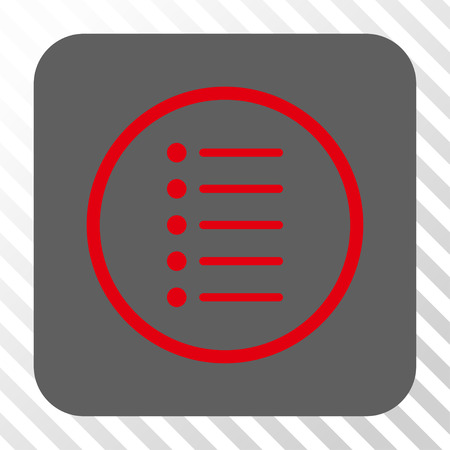 numerate: Items rounded button. Vector pictograph style is a flat symbol centered in a rounded square button, red and gray colors, hatched diagonally transparent background.