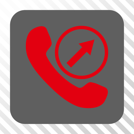 outgoing: Outgoing Call rounded icon. Vector pictograph style is a flat symbol centered in a rounded square button, red and gray colors, hatched diagonally transparent background.