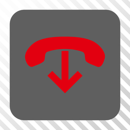 hang up: Phone Hang Up toolbar icon. Vector pictogram style is a flat symbol in a rounded square button, red and gray colors, hatched diagonally transparent background.