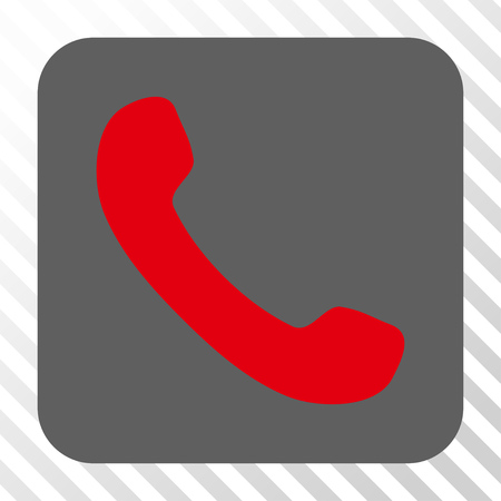 phone receiver: Phone Receiver toolbar button. Vector pictograph style is a flat symbol centered in a rounded square button, red and gray colors, hatched diagonally transparent background.