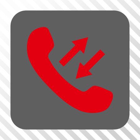 phone talking: Phone Talking interface toolbar icon. Vector pictogram style is a flat symbol centered in a rounded square button, red and gray colors, hatched diagonally transparent background.